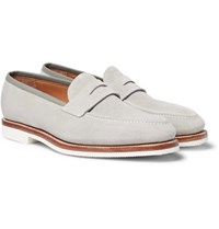 George Cleverley Capri Suede Penny Loafers Gray