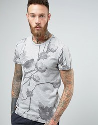Selected Homme Crew Neck T Shirt With All Over Floral Print Light Grey