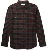 Saint Laurent Aint Lim Fit Checked Cotton Flannel Wetern Hirt Red