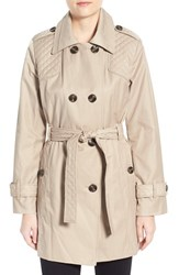 Women's London Fog Quilt Detail Double Breasted Trench Coat Toffee