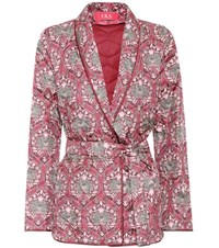 For Restless Sleepers Printed Silk Satin Jacket Pink