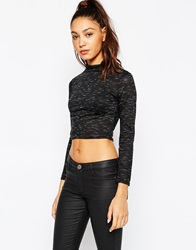 Daisy Street Crop Top With Turtle Neck Black