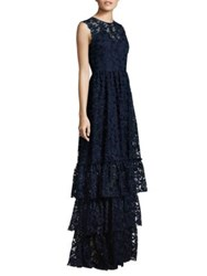 Shoshanna Midnight Daisy Embroidered Tiered Skirt Gown Navy