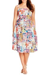 Plus Size Women's City Chic 'Holiday Romance' Print Fit And Flare Dress
