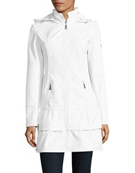 Betsey Johnson Ruffle Tiered Soft Shell Coat Ivory