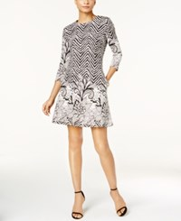 Msk Floral Border Geometric Print Dress Cream Black