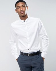 Asos Slim Sateen Shirt With Wing Collar And Contrast Buttons White