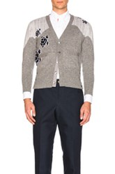 Thom Browne Sea Animal Cashmere Intarsia Cardigan In Gray Animal Print Gray Animal Print