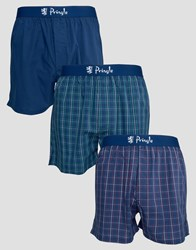 Pringle Woven Boxers In 3 Pack In Check Navy Navy