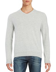 Black Brown Cashmere V Neck Sweater Silver Grey Heather