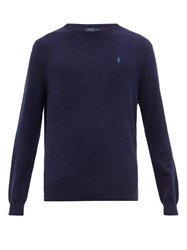 Polo Ralph Lauren Logo Embroidered Cashmere Sweater Navy