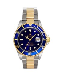 Pre Owned Rolex Stainless Steel And 18K Yellow Gold Two Tone Submariner Watch With Blue Dial 40Mm Blue Gold