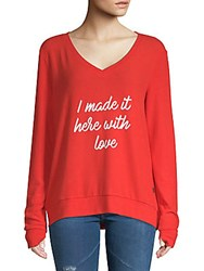 Peace Love World Made It V Neck Top Apple Red
