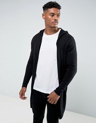 Asos Hooded Open Front Cardigan With Curved Hem In Black Black