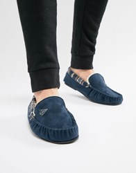 Dunlop Suedette Sheepskin Lined Mocasin Slipper Navy