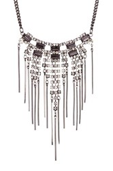 Stephan And Co Statement Stone Fringe Necklace Black