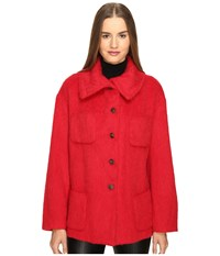 Manila Grace Funnel Neck Jacket Red