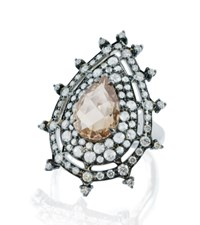 Nam Cho Champagne Diamond Pear Ring Pink
