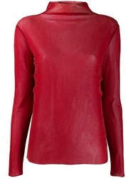 Luisa Cerano Stand Up Collar Jumper Red