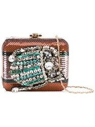 Rochas Embellished Clutch Women Polyester Metal Glass One Size Metallic