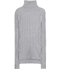 Acne Studios Corin Ribbed Wool Blend Turtleneck Sweater Grey