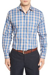 Peter Millar Men's Regular Fit Plaid Sport Shirt Hawaiian Blue