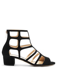 Jimmy Choo Ren 35Mm Block Heel Suede Sandals Black