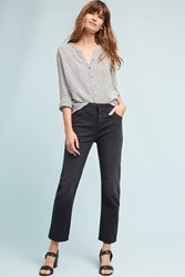 Anthropologie Current Elliott Original Straight High Rise Cropped Jeans Black