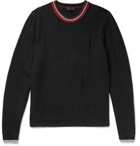 Lanvin Distressed Striped Wool Sweater Black
