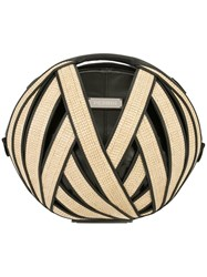 Perrin Paris Round Woven Shoulder Bag Nude And Neutrals