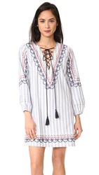 English Factory Multicolor Embroidered Smock Dress Blue Multi Combo