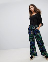 Qed London Leaf And Tiger Print Wide Leg Trousers Blk Navy Black