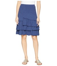 Mod O Doc Slub Jersey Tiered Asymmetrical Ruffle Skirt New Navy