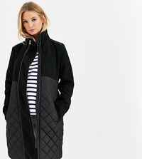 Mamalicious Maternity Quilted Coat With Post Birth Functionality In Black