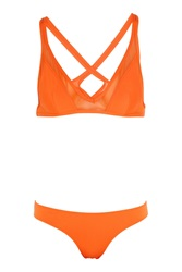 Ephemera Citrus Twist Mesh Paneled Triangle Bikini Orange