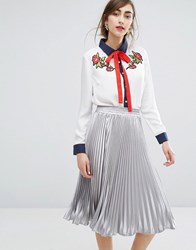E.F.L.A Tie Neck Shirt With Flower Patches White