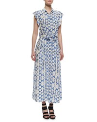 Rebecca Taylor Printed Flutter Sleeve Maxi Dress Blue Combo