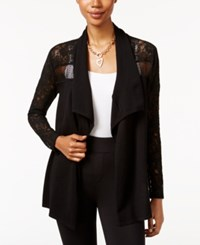 Thalia Sodi Lace Trim Open Front Cardigan Only At Macy's Deep Black