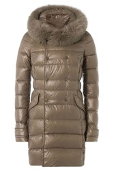 Duvetica Down Coat With Fox Fur Trimmed Hood Beige
