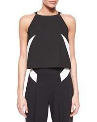 Milly Sleeveless Darted Crop Shell Top Black