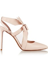 Nicholas Kirkwood Origami Bow Embellished Leather Pumps Pastel Pink