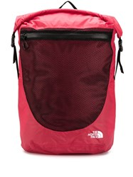 The North Face Waterproof Rolltop Mesh Panel Backpack Red