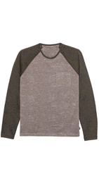 John Varvatos Long Sleeve Baseball T Shirt Drill
