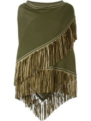 Antonia Zander Fringe Trim Knitted Shawl Green
