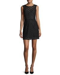 Milly Nina Sleeveless Floral Embroidered Lace Dress Black