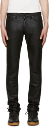 Naked And Famous Black Super Skinny Guy Waxed Jeans