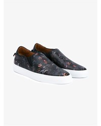 Givenchy Baboon Print Leather Slip On Sneakers Multi Coloured White Black