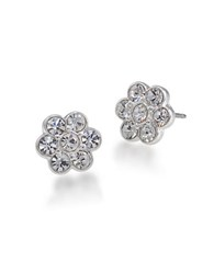 Carolee The Mary Crystal Flower Stud Earrings Silver