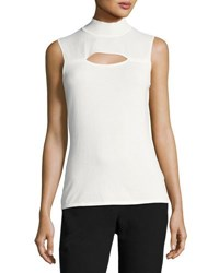 Tahari By Arthur S. Levine Sleeveless Mock Neck Blouse Ivory