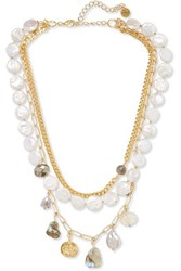 Chan Luu Gold Tone Multi Stone Necklace White